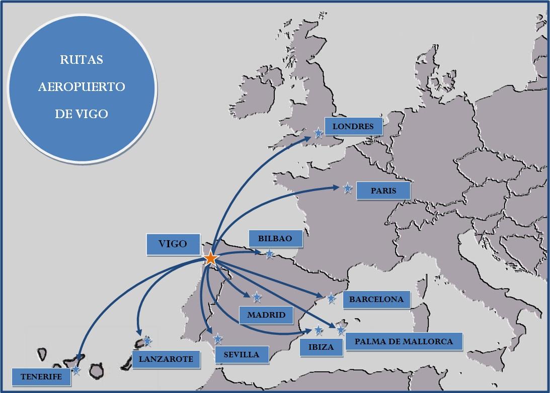 Mapa de rutas verano 2012 blog aeropuerto de vigo for Como llegar de barcelona a paris